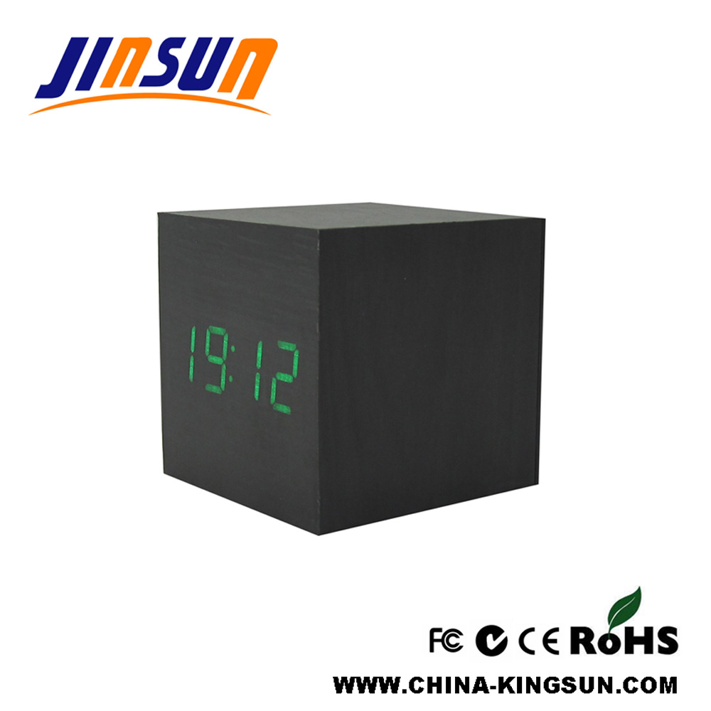 Wooden Clock With Green Led