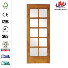 36 in. x 80 in. Rustic Knotty Alder 10-Lite TDL Wood Stainable Interior Door Slab