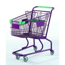 アメリカのスタイルのスーパーマーケットの小さな金属ショッピングカートのトロリー