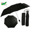 3 klappbarer großer Aluminiumhalter Kunststoffgriff schwarzer Regenschirm