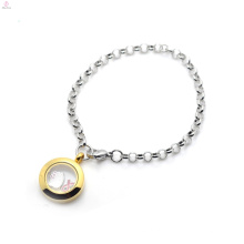 ODM OEM aceitável flutuante medalhão com encantos pulseira de moda para homens