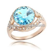 Moda banhado a ouro 18k ouro jóia anel de marinha
