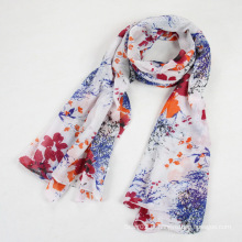China Scarf Factory Algodão Cotton Voile Flower Scarf