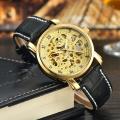automatic movement leather mechanical mens wrist watch