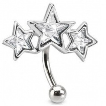 Triple Curve Paved Star CZ Eyebrow Ring