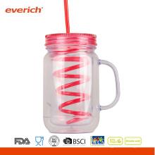 EUA Nova garrafa de água fria de plástico de camada dupla com palha