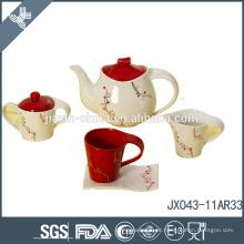 Preço baixo cor sólida porcelana osso conjunto de chá