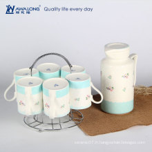 Théières en céramique funky unique à vendre / grande capacité de théière bleue fraîche et ensemble de tasses