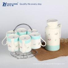 Bules originais funky cerâmicos para venda / grande capacidade fresca chávena azul e conjunto de caneca