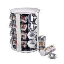 Pot de stockage de carrousel à épices rotatif en acier inoxydable de cuisine