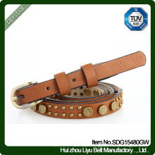 Genuine Leather Belt Female Vintage Rivet Dress Strap Cintos de couro Skinny Fashion Women Cowhide