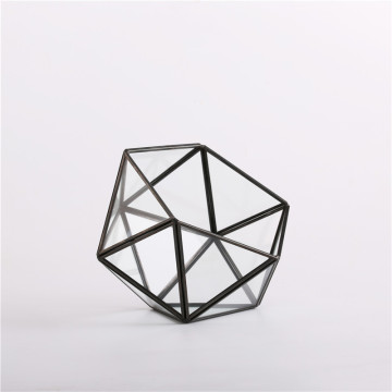 Factory Wholesale Black Gold Geometric Glass Terrarium Plants Geometric Terrarium