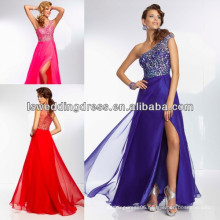 HE2122 Sheer back with open front a-line one shoulder chiffon beaded prom
