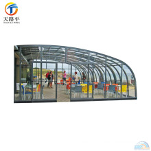 High Quality Aluminum Frame Curved Roof Glass Sunroom