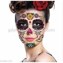 Temporärer Tätowierungsaufkleber der Tätowierungsdesigns der vollen Gesichtsmaske kundengebundenen Gesichtsmaske-Tätowierung für Partei