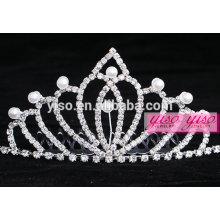 Tiaras nupciales del diamante real de la princesa de la perla de la manera