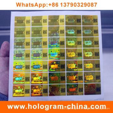 Autocollants anti-faux anti-hologramme avec impression de code Qr