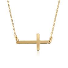 44712 Xuping 18k joyas nuevo diseño 18k chapado en oro largo collar católico en forma de cruz