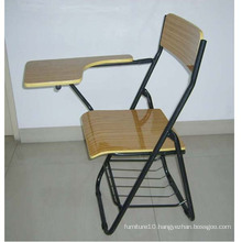 Metal Frame Wood Folding Backrest Chair With A Writing Board