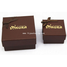 Elegant Chocolate Packaging Paper Box with Yellow Foil Stamping