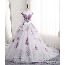 Высокое качество очаровательная стиль кружева милая декольте аппликация бальное платье Свадебные TS302