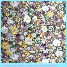 Tecido sintético de algodão sintético com flores de raiom de flores
