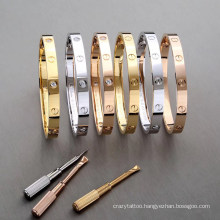 Luxury 316L Stainless Steel Women Bangle Bracelet Classic Design Jewelry Diamond Screw Brand Bangle
