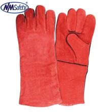 NMSAFETY Luva de manga de solda de couro vermelho