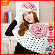 Latest style customized wholesale knitted scarf beanie and glove set