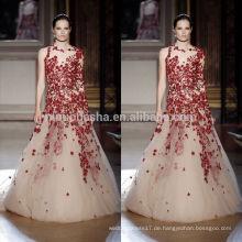 2014 A-Linie Brautkleid O-Neck Halbes schiere lange Ärmel in voller Länge Tüll gemacht Brautkleid mit roten Applique NB0614