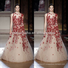 2014 A-Line Wedding Dress O-Neck Half Sheer Long Sleeve Full-length Tulle Made Bridal Gown With Red Applique NB0614