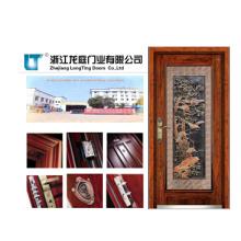 Porta blindada de madeira de aço com vidro