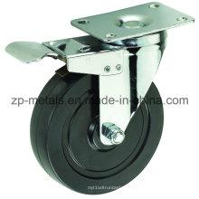 Rodas de rodízio de borracha preto de tamanho médio de 4 polegadas Biaxial com freio