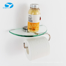 Stainless Steel Wall Mounted Paper Toilet Holder With glass Mobile Phone Shelfm