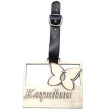 Metal Zinc Alloy Bag Tag with Leather Strap - Available for Custom Design