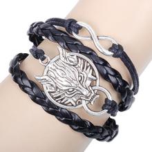 Liga de Metal de prata antigo original lobo infinito pulseira couro artesanais cabo pulseiras DIY favorito estrela joias