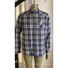 Camisa de bolso simples em algodão xadrez para homens