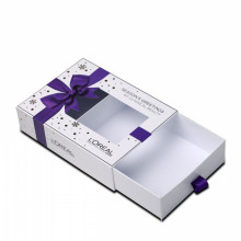Blue Gift Eyelash Paper Box With Ribbon Design