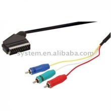 Scart plug to 3x rca component rgb cable