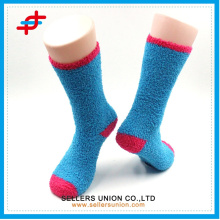 custom logo Bright color warm winter Half-velvet ladies thick knitted terry happy sock