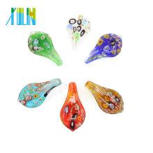 12pcs/box Millefiori Teardrop Glass Lampwork Pendants For Necklace DIY, MC0028