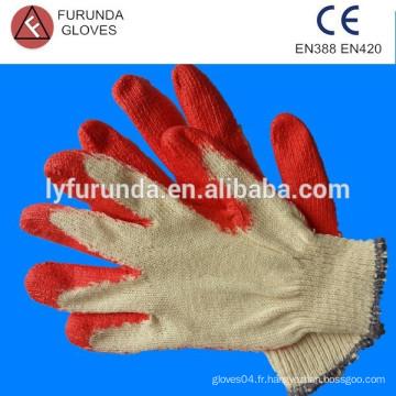 Gants de coton revêtus de latex rouge, gants de travail au latex doublés de coton