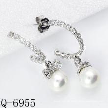 Neueste Styles Cultured Perlen Ohrringe 925 Silber (Q-6955)