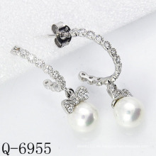 Los últimos estilos cultivaron los pendientes de la perla plata 925 (Q-6955)