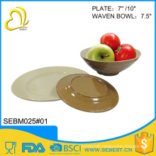 high quality plate bowl product mix melamine bamboo dinner set