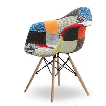 Replica Eames Upholstered Fabric Patchwork Dining Chair