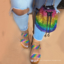 2021 Summer fashionable diamond women's sandals matching bags   rhinestone jelly shoes and purse  sets