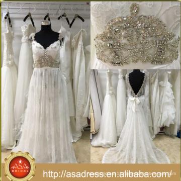 ASWY20 Real Sample brautkleid Beach Aline Crystals Bridal Dress vestidos de novia Bohemian wedding Gowns