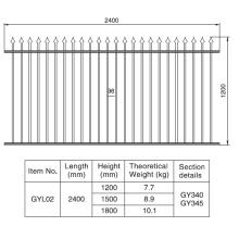 Diseño tradicional 1.2 / 1.5 / 1.8m. HX 2.4 M. W Sección de aluminio de la cerca negra