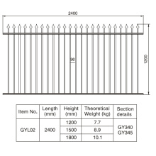 Traditional Designed 1.2/1.5/1.8m. H X 2.4 M. W Aluminum Black Fence Section